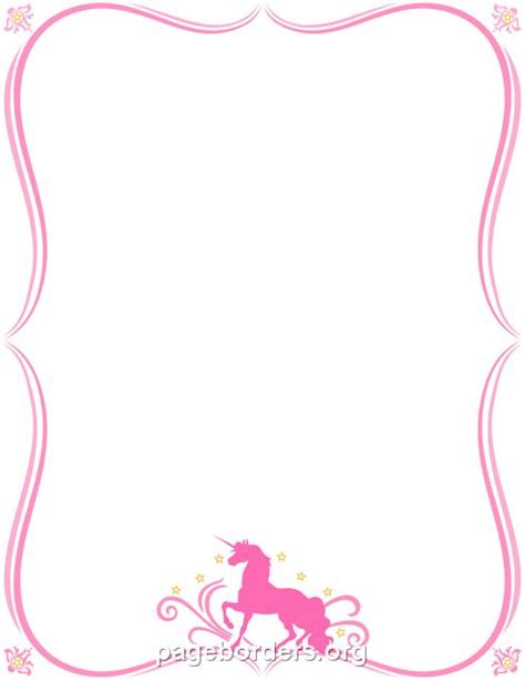 printable unicorn paper printable unicorn border use the border in microsoft word