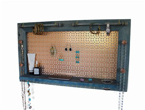 earring holder and jewelry organizer wooden wall hanging