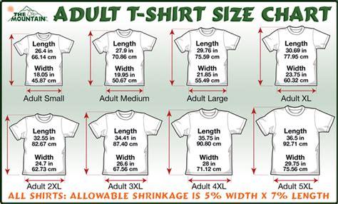 t shirt sizing