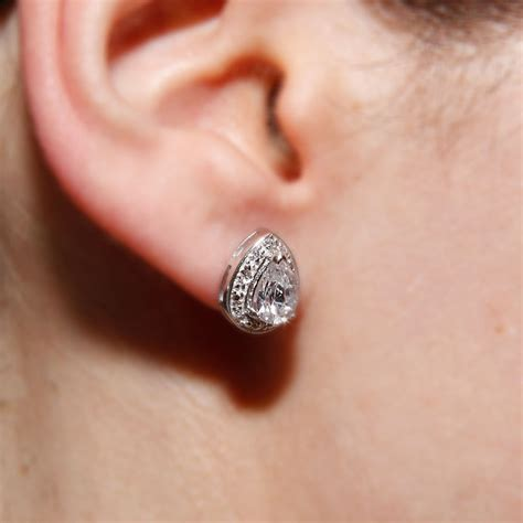 Sterling Silver Studs sterling silver pear stud earrings sste00930