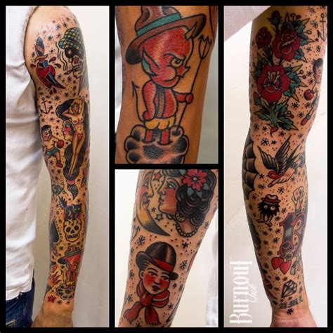 traditional sleeve tattoo burnout ink sleeve traditional style tatto ideas