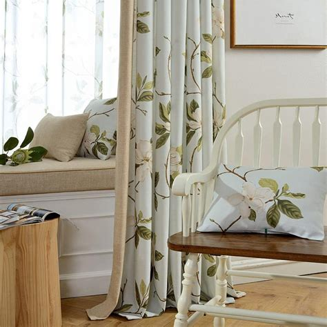 cream living room curtains cream floral print linen cotton blend country living room