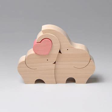 組み木 木のおもちゃ 『遊プラン』 ka191 | ゾウのカップルとハート・mc