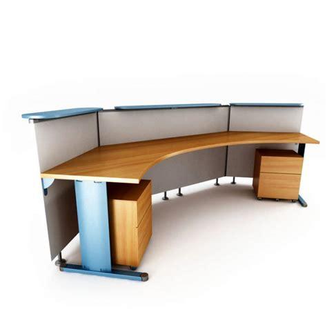 brown office desk brown modern office table reception desk 3d model