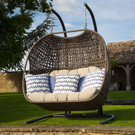 double garden swing bramblecrest rio double hanging cocoon rattan pod chair