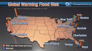map of us with global warming global warming coastal flood risk climate central