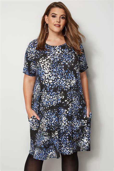 blauwe jurk maat 46 blauwe jurk met luipaard print grote maten 44 64