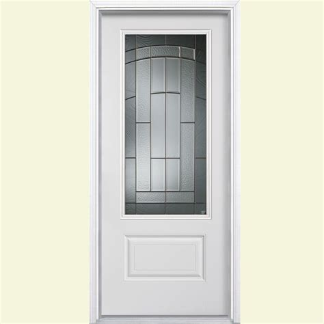 Masonite Fiberglass Exterior Doors Masonite 36 In X 80 In Croxley Three Quarter Rectangle Primed Smooth Fiberglass Prehung Front