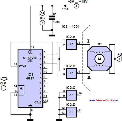 motor generator stepper electronic circuits schematics
