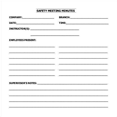 safety meeting minutes template 12 exle safety meeting minutes template templatezet