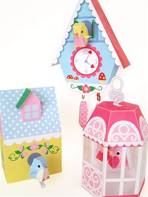 Paper Bird Cage Craft - cuckoo clock bird house and bird cage printable paper