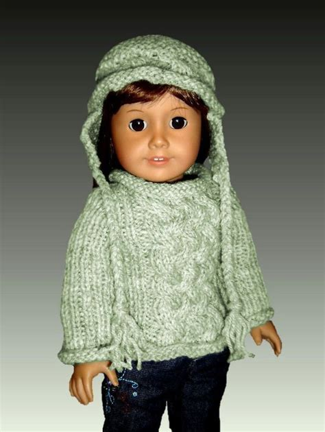 knit sweater pattern 18 inch doll fits american girl knitting pattern ag doll aran sweater