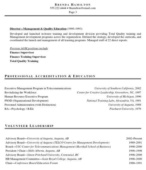 sle cover letter sle resume vp hr