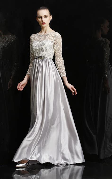 Sheath Bateau Neckline Long Silver Silk Evening Prom Dress With Lace Sleeves