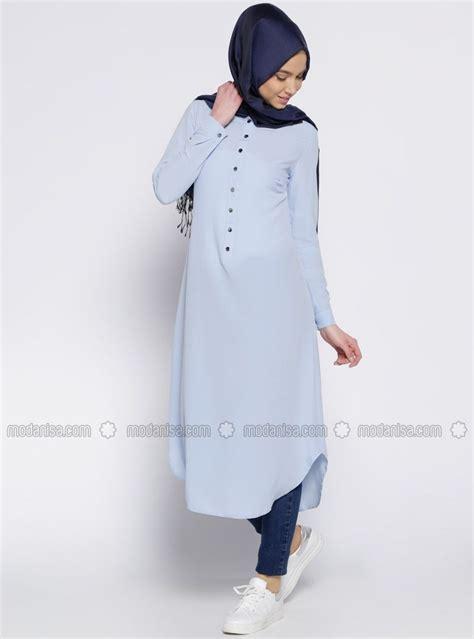 blue crew neck tunic everyday basic muslim fashion