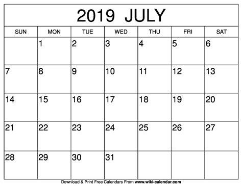 July Template Calendar