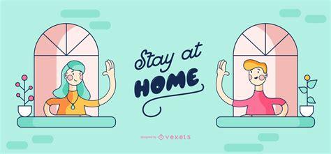 stay  home people cartoon design vector