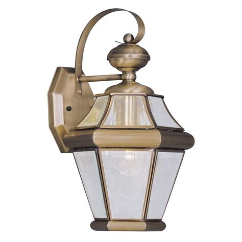 Brass Outdoor Light Livex Lighting 1 Light Antique Brass Outdoor Wall Lantern With Clear Beveled Glass 2161 01 The