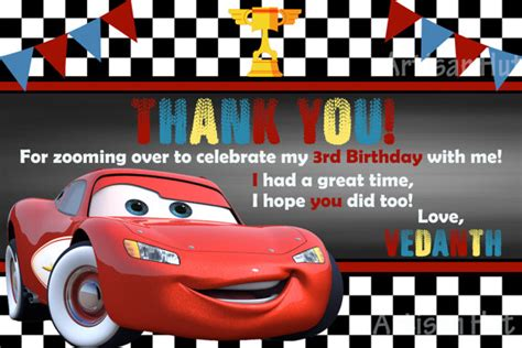 lightning mcqueen thank you cards printable disney cars thank you card printable size 4x6