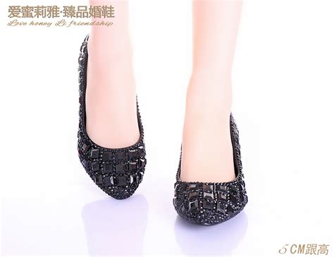 pointed toe rhinestone low heel black prom shoes wedding