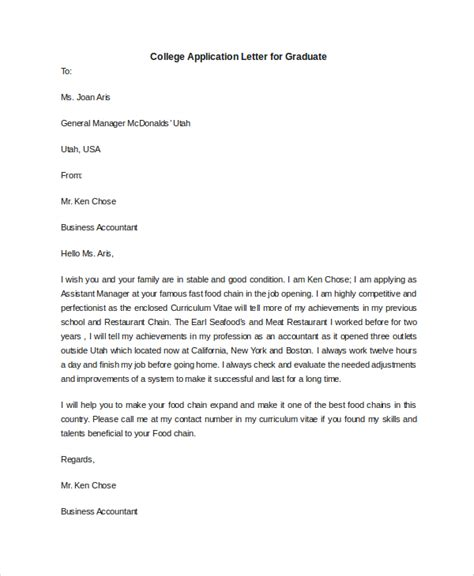 College Graduate Application Letter Sle College Application Letter 6 Documents In Pdf Word