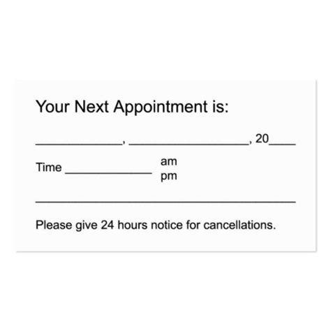 business card appointment template free appointment cards printable search results