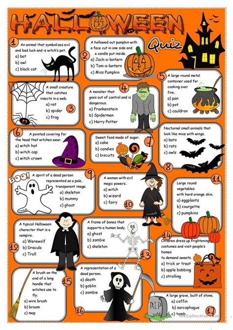 halloween themed quiz questions halloween quiz worksheet free esl printable worksheets
