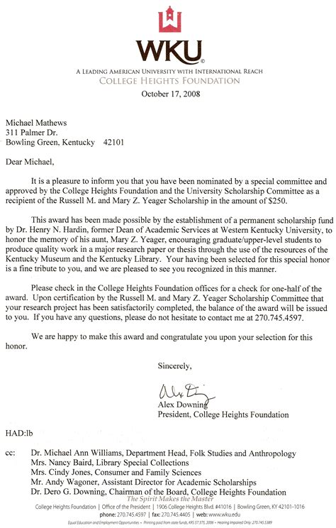 Scholarship Winner Letter Template Letters Awards Michael Mathews