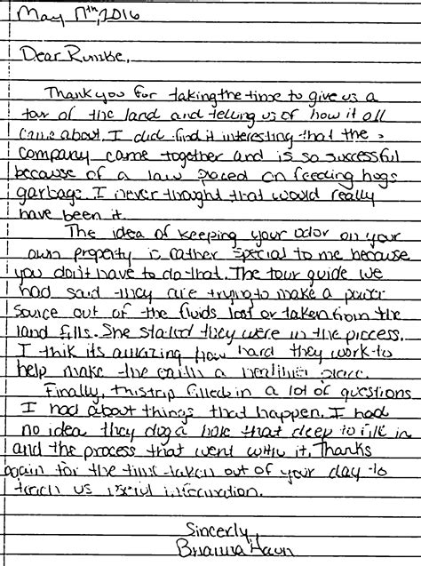 thank you letter to band thank you letter for school tour farm tour seattle
