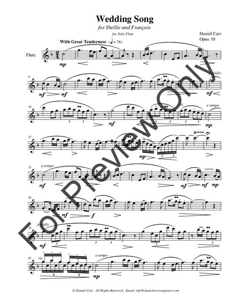 Wedding Song On Violin by Wedding Song For Flute Violin Flute J W Pepper