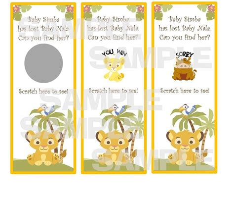 Nala King Baby Shower by King Baby Shower Scratch Tickets Simba
