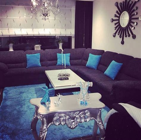 azul turquesa  gris combinacion perfecta  una sala