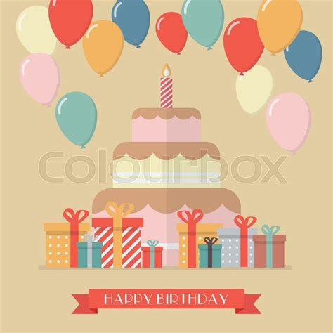 Bantal Foto Custom Happy Birthday Cloud Konfetti Spa 223 Ern 228 Hrung Vektorgrafik Colourbox