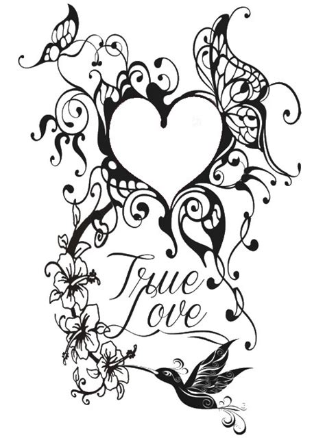 art therapy coloring page valentines day tattoo heart