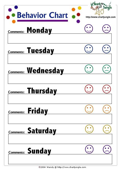 conduct sheet template best 25 weekly behavior charts ideas on daily