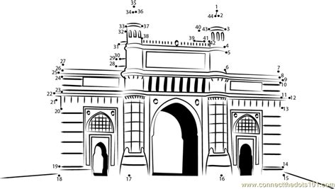 coloring pages of india gate gateway of india dot to dot printable worksheet connect