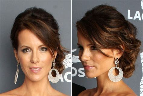 side swipe updo hairstyles side swept updo of kate beckinsale as prom hairstyle for