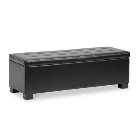 Black Leather Ottoman With Storage Roanoke Black Storage Ottoman