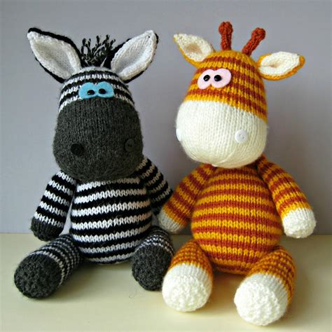 knitting pattern toys gerry giraffe and ziggy zebra toy knitting patterns on luulla