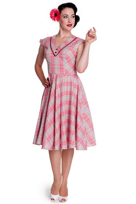 Dress Pink Carol pink mint plaid carol dress by hell bunny
