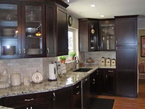 white granite countertops white tile backsplash cherry