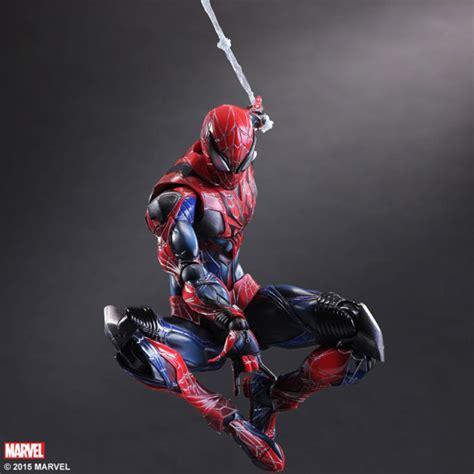 spider man swinging from web play arts kai spider man figure photos order info