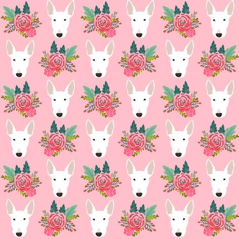 bull terrier floral dog head design cute floral fabric