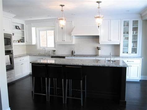 Kitchen With White Cabinets Dark Island Dark Hardwood White And Espresso Kitchen Cabinets