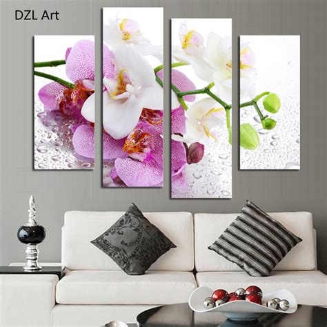 Lukisan Wall Painting Wall Decor Hiasan Dinding 1 4 pcs no frame pink flowers wall picture modern home decoration living room or bedroom