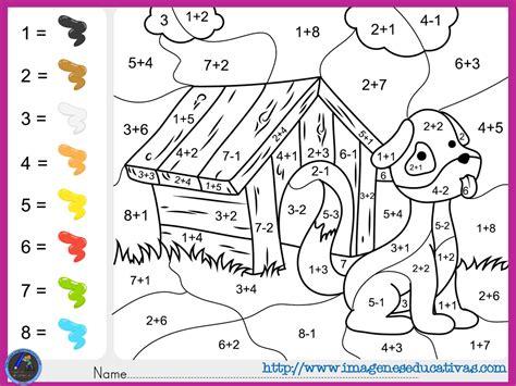imagenes con operaciones matematicas para colorear fichas de matematicas para sumar y colorear dibujo 5