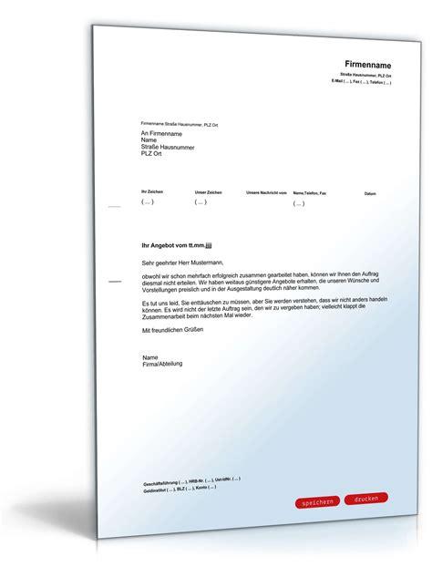 Angebot Nachfassen Musterbrief Englisch ablehnung angebot wegen konkurrenz vorlage zum