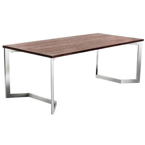stainless steel dining table sunpan revolver brown walnut top and silver stainless