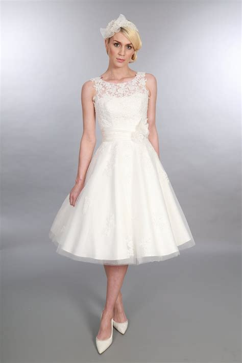 Tea Length Wedding Dresses by Timeless Chic Anara Tea Length Lace Tulle Vintage
