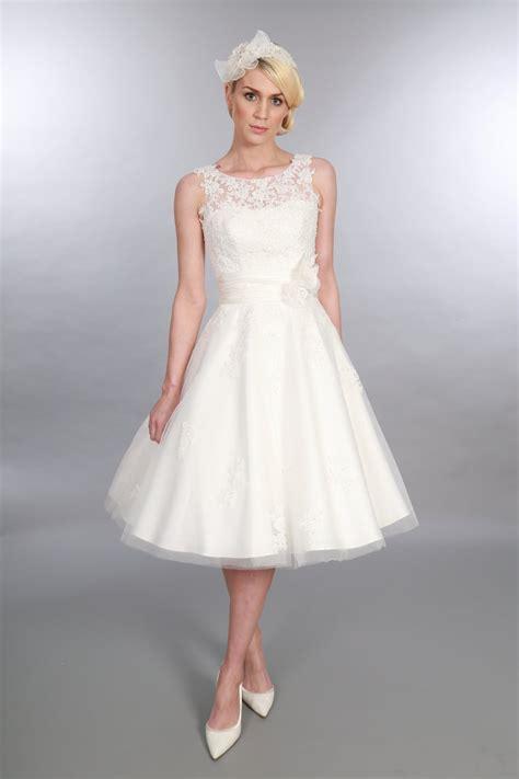 Wedding Dresses Tea Length by Timeless Chic Anara Tea Length Lace Tulle Vintage